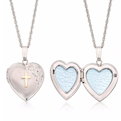 faithful heart locket cross